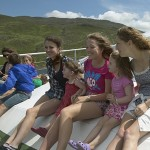 Having fun in the sunshine aboard the Killary Fjord Tour Boat